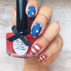matte nail design for Independence Day