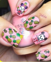 minnie and mickey mouse nails with pineapples