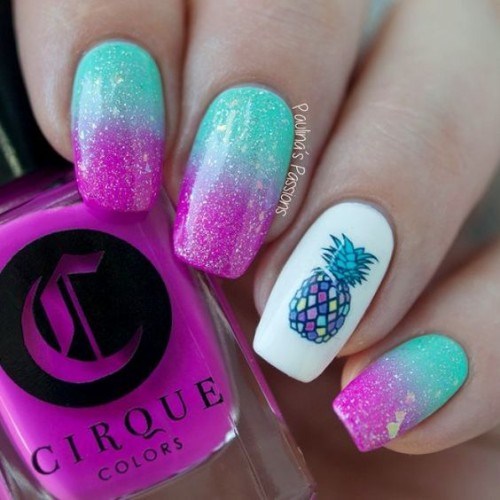 mint green and pink pineapple nails