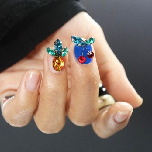 nail design with rhinestones pineapples
