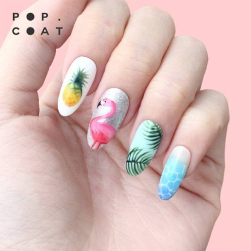 nails with flamingo and pineapple