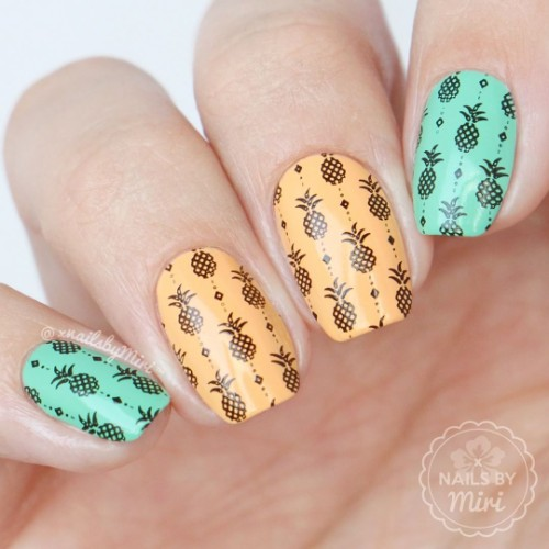 Stamping nail art with a pineapple. - Pineapple Nail Designs: 90 Totally Fabulous Mani Ideas NAILSPIRATION