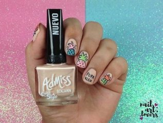 neutral beige nail design with pineapples