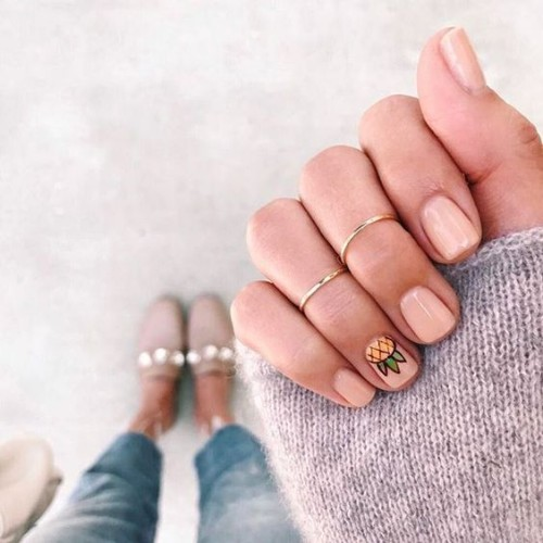 nude beige nails with pineapple