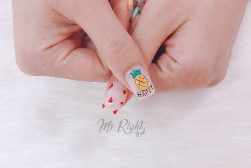 nude nail design with pineapple and watermelon - Pineapple Nail Designs: 90 Totally Fabulous Mani Ideas NAILSPIRATION