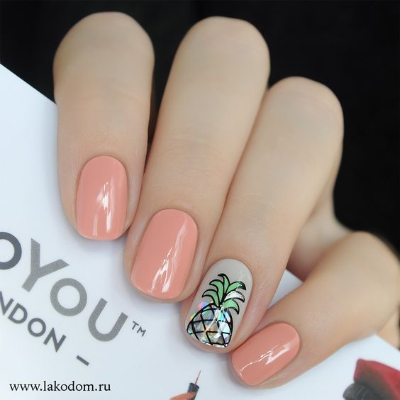 nude office ready pineapple nail design
