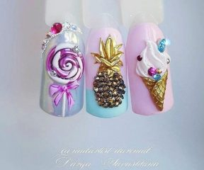 pink and blue nails with crystal pixies pineapple