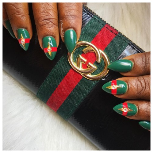 green Gucci-themed nails