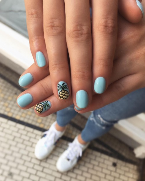 sky blue pineapple nails
