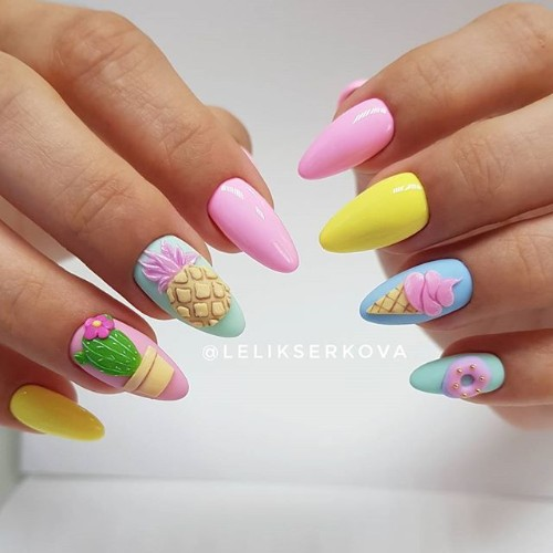 summer pastel nails with pineapples icecream and cactus