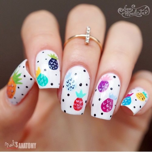 white square nails with colorful pineapples