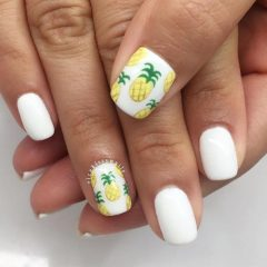 white summer nails with pineapples