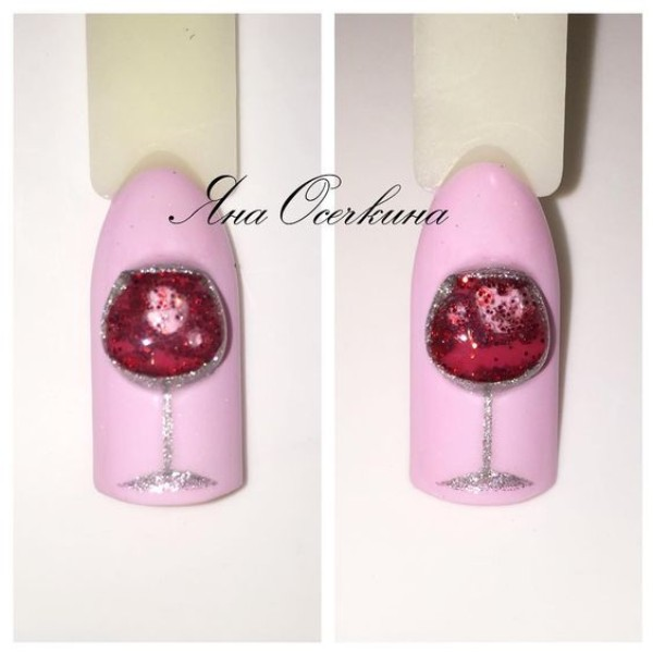 3D-glass-of-wine-nail-design