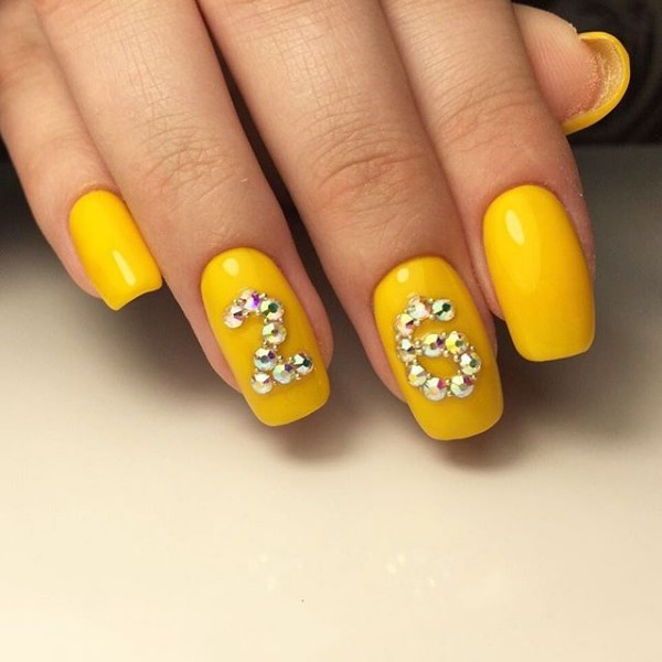 26th-birthday-manicure-bright-yellow