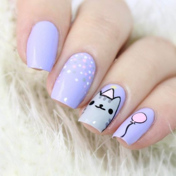 Kawaii-cat-birthday-nails