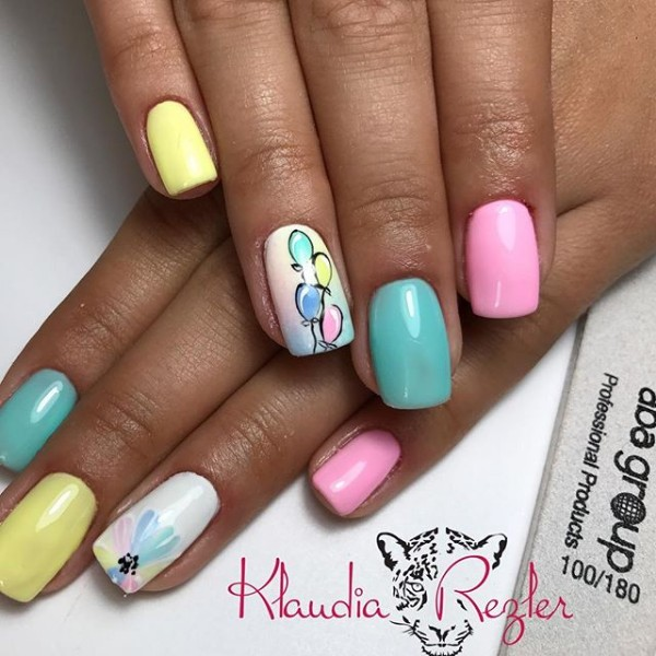 Colorful Birthday Gel Nails
