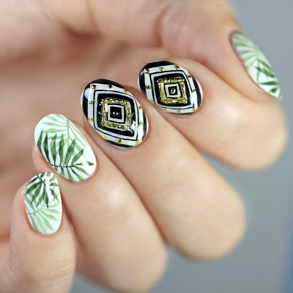 summer green leaves nail design