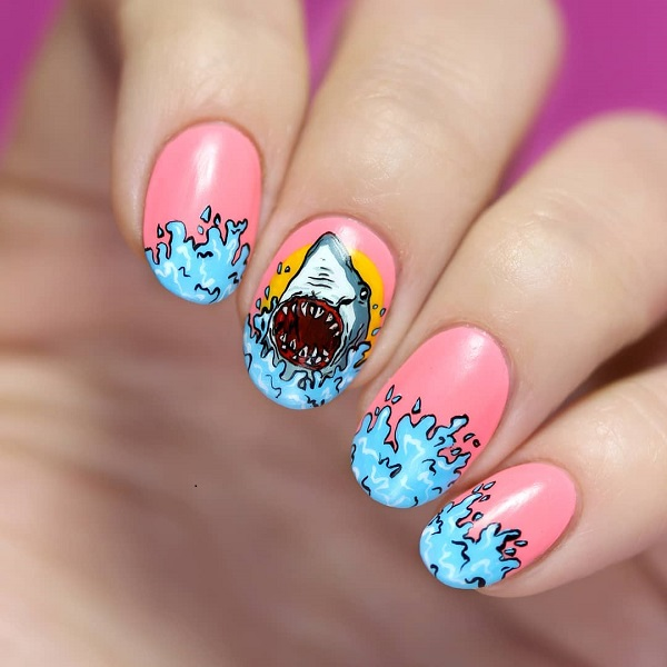 pink nail design with a shark for summer
