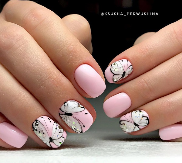 nude pink butterfly summer nail design