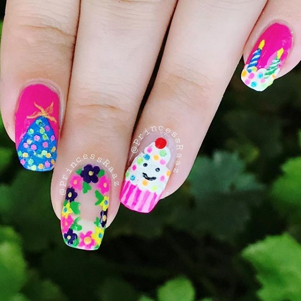 long-birthday-nails-flowers-cupcake