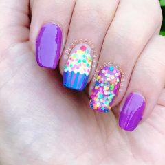 purple-birthday-nails-with-cupcake-and-glitter-confetti