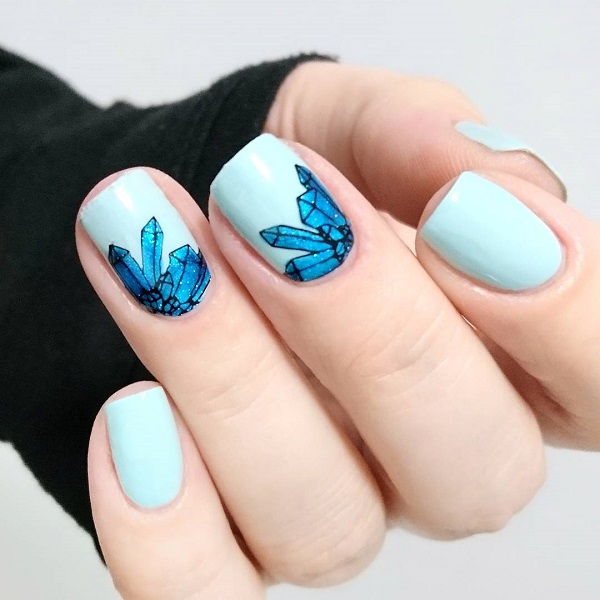 blue summer nail design