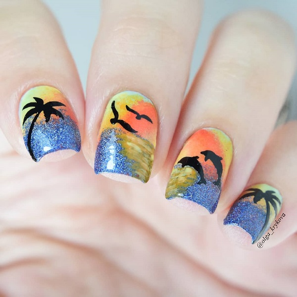 sunset-nails-for-summer