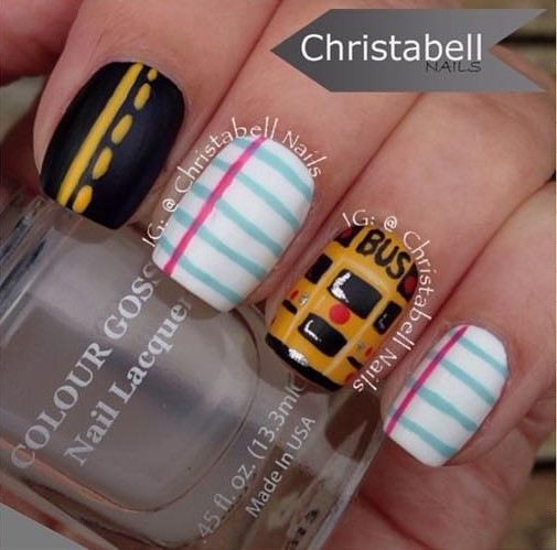 yellow-school-bus-nail-design