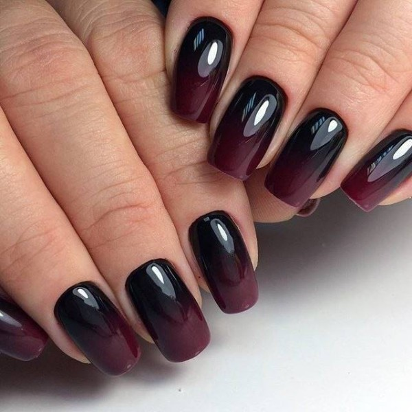 Red Wine And Dark Bordo Autumn Ombre Nails