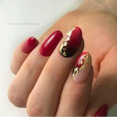 dark-red-ombre-nail-with-foil-for-fall