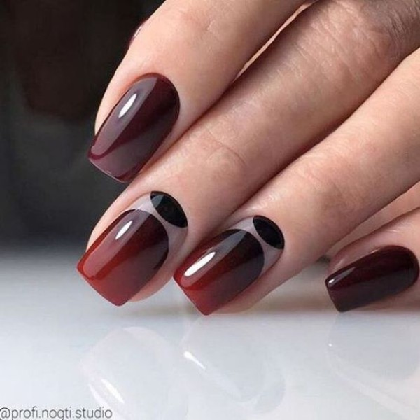 ombre-nails-fall-dark-red