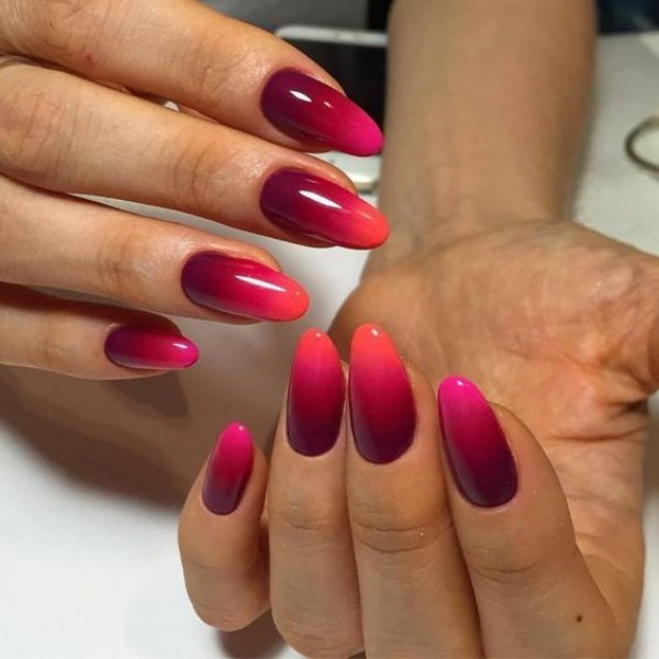 Marsala Fall Ombre Nails With Orange Tips