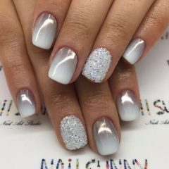 shimmering-silver-gray-fall-ombre-nails