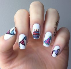 white-bday-cake-nail-art