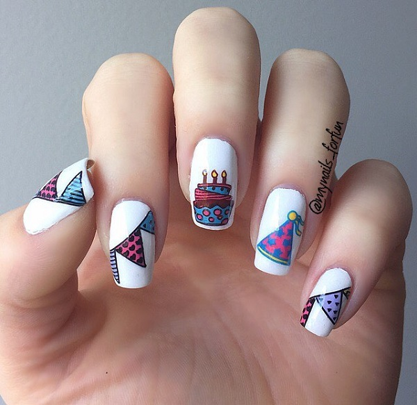 Cake Nail Art For Birthday Party