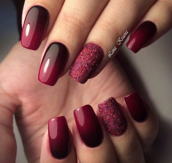 wine-bordo-ombre-fall-nails