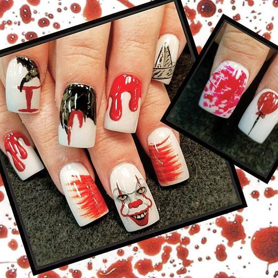Pennywise nail design for Halloween