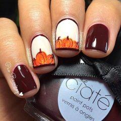 burgundy-halloween-nails-with-pumpkins