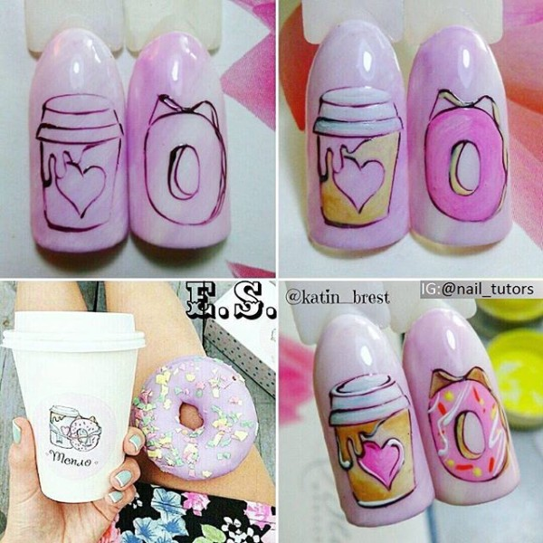 coffee-and-donut-nail-design