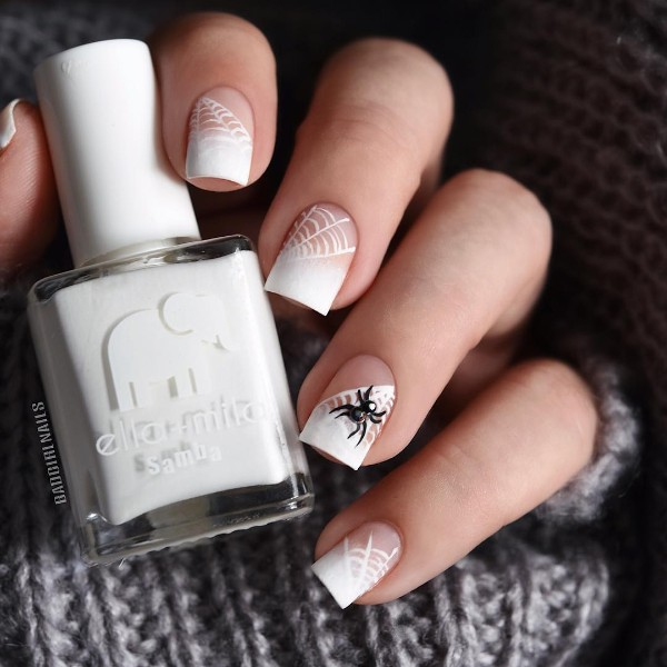 halloween-french-nails-with-cobweb-and-spider