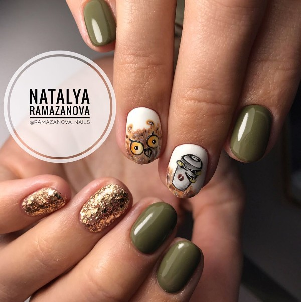owl-and-coffee-nail-art