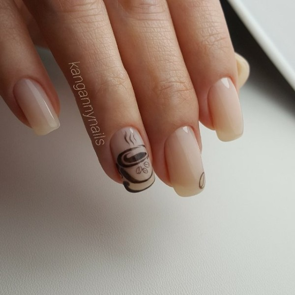 nude-nails-with-coffee-themed-design