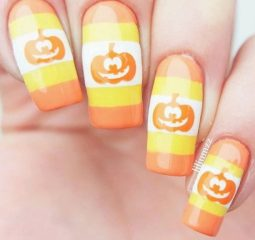 pastel-pumpkin-nail-design-with-stripes