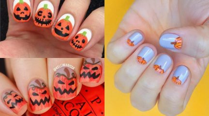 Pumpkin Nail Art for Fall, Halloween Party or Thanksgiving Holiday Weekend