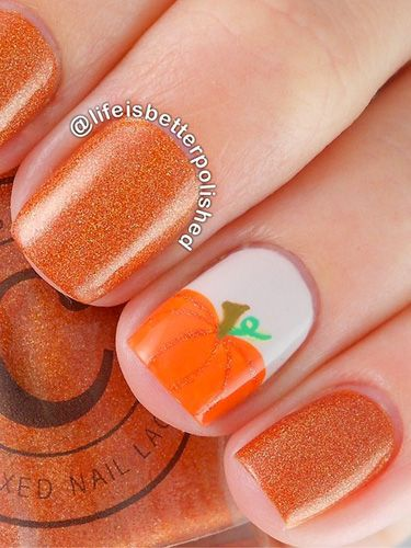 pumpkin-orange-nail-design