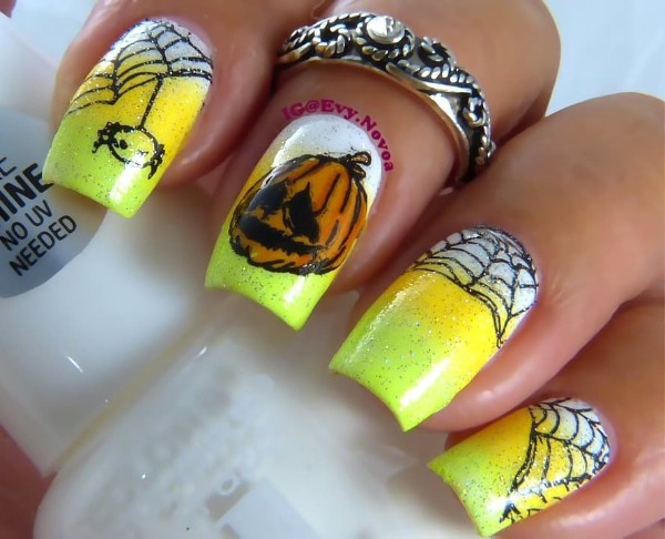 sad-pumpkin-nail-design