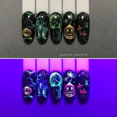 watercolor-halloween-nail-design-glowing-in-the-dark