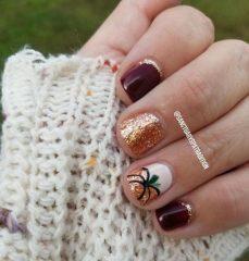 wine-gold-glitter-pumpkin-nails