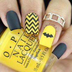 yellow-and-black-halloween-batman-nails
