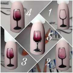 how to draw a glass of wine on nails
